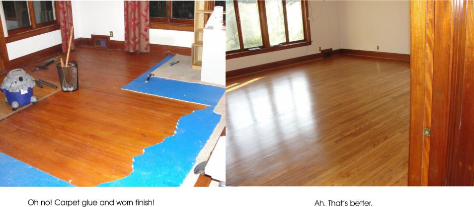 hardwood floor before and after refinishing